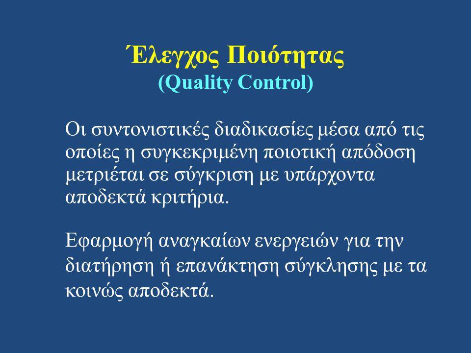 Έλεγχος Ποιότητας (Quality Control) Οι συντονιστικές διαδικασίες μέσα από τις οποίες η συγκεκριμένη ποιοτική απόδοση μετριέται σε σύγκριση με υπάρχοντα αποδεκτά κριτήρια.