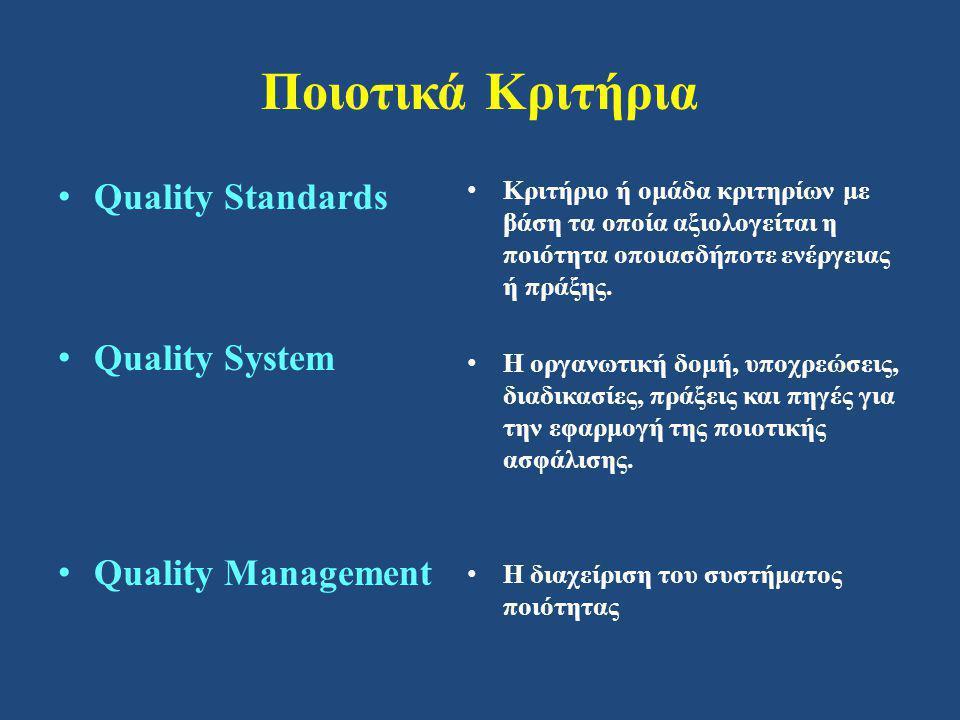Ποιοτικά Κριτήρια • Quality Standards • Quality System • Quality Management • Κριτήριο ή ομάδα κριτηρίων με βάση τα οποία αξιολογείται η ποιότητα οποιασδήποτε ενέργειας ή πράξης.
