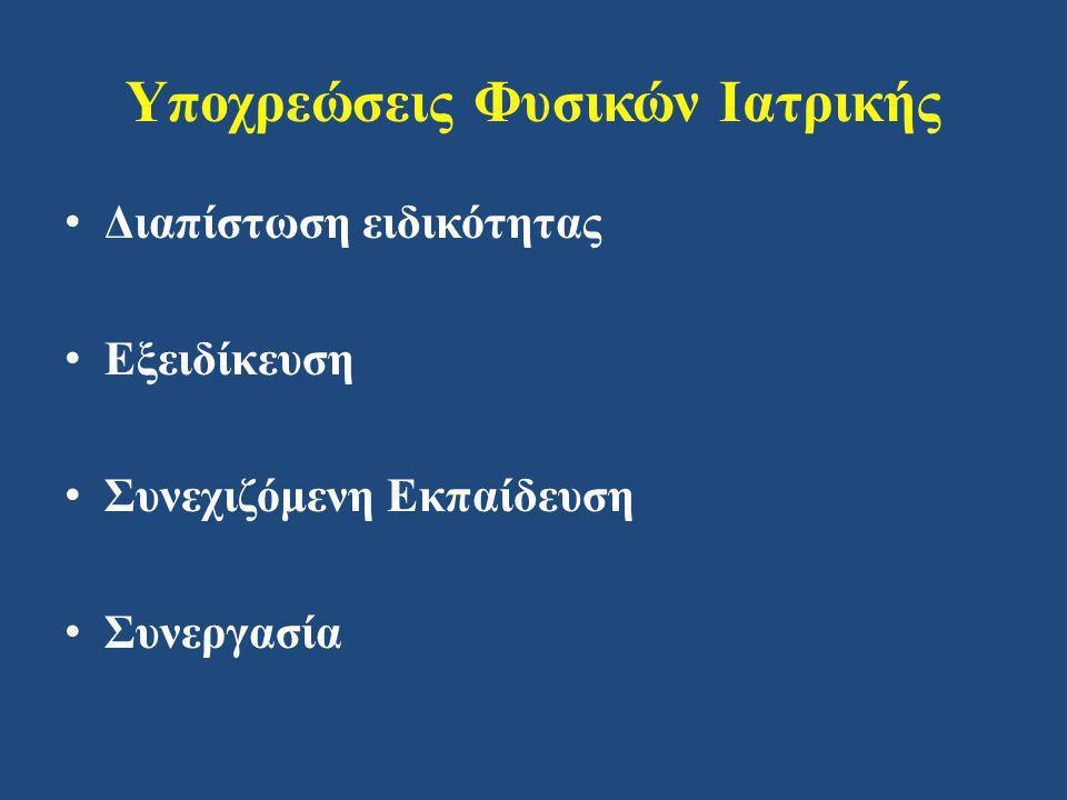 Υποχρεώσεις Φυσικών Ιατρικής • Διαπίστωση ειδικότητας • Εξειδίκευση • Συνεχιζόμενη Εκπαίδευση • Συνεργασία