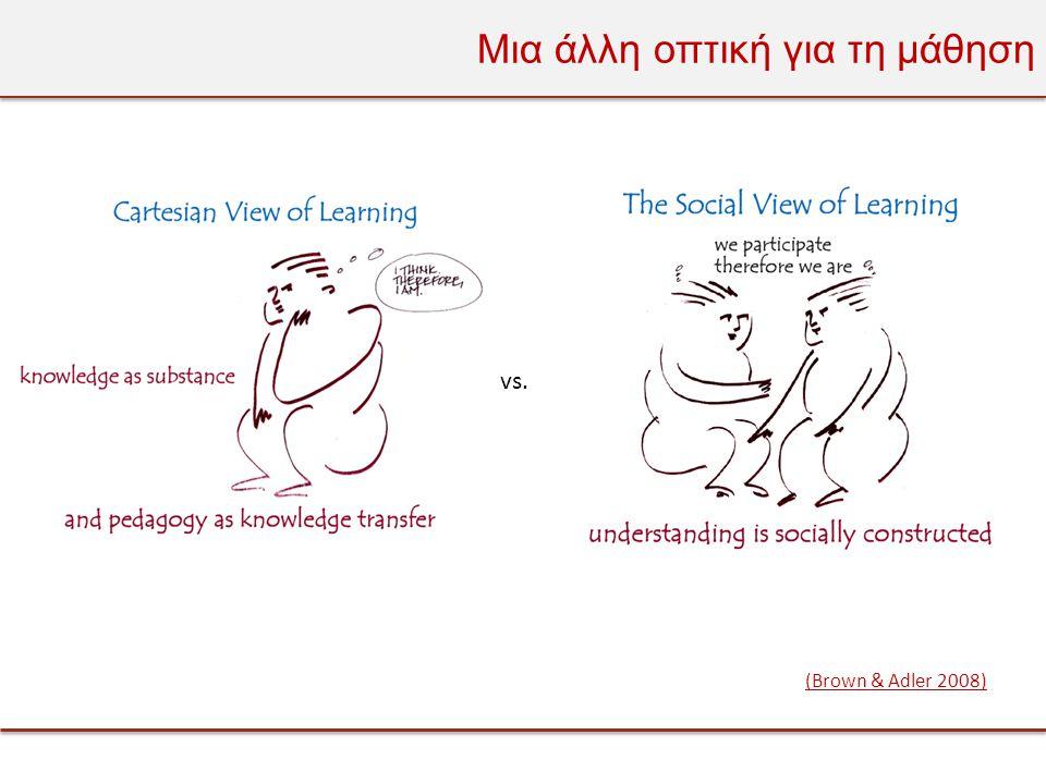 Μια άλλη οπτική για τη μάθηση vs. (Brown & Adler 2008)