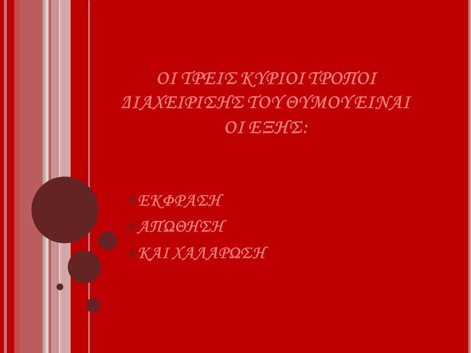 ΟΙ ΤΡΕΙΣ ΚΥΡΙΟΙ ΤΡΟΠΟΙ ΔΙΑΧΕΙΡΙΣΗΣ ΤΟΥ ΘΥΜΟΥ ΕΙΝΑΙ ΟΙ ΕΞΗΣ:  ΕΚΦΡΑΣΗ  ΑΠΩΘΗΣΗ  ΚΑΙ ΧΑΛΑΡΩΣΗ
