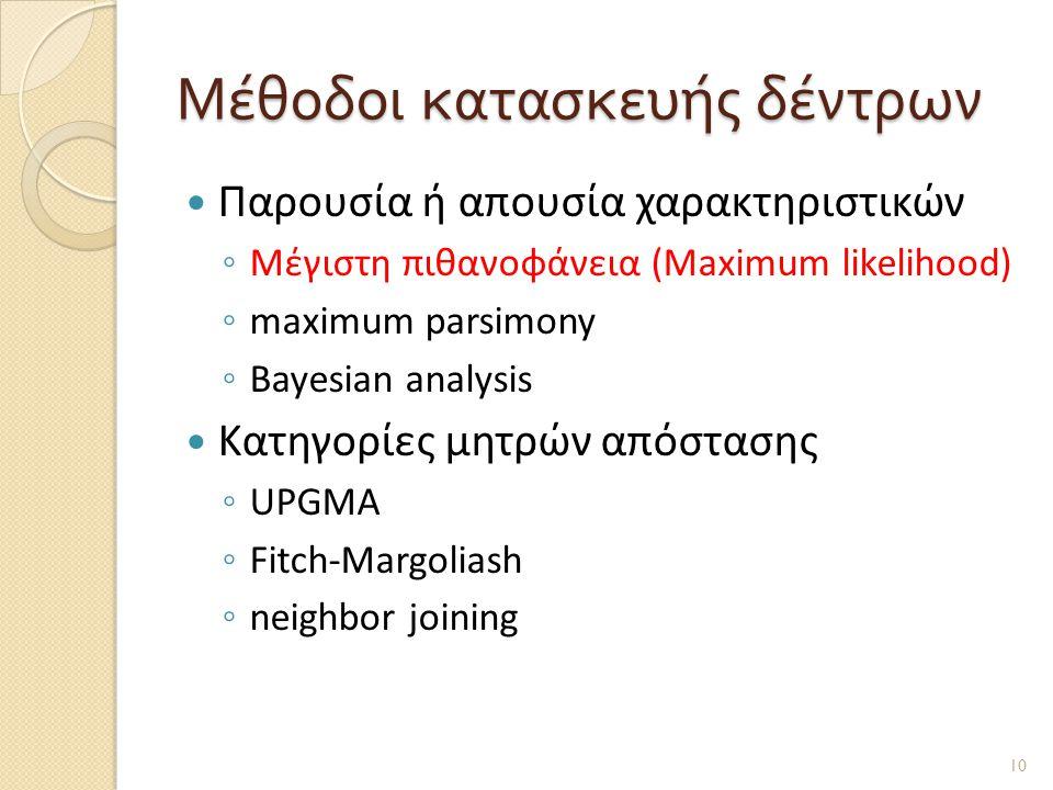 Μέθοδοι κατασκευής δέντρων  Παρουσία ή απουσία χαρακτηριστικών ◦ Μέγιστη πιθανοφάνεια (Maximum likelihood) ◦ maximum parsimony ◦ Bayesian analysis  Κατηγορίες μητρών απόστασης ◦ UPGMA ◦ Fitch-Margoliash ◦ neighbor joining 10