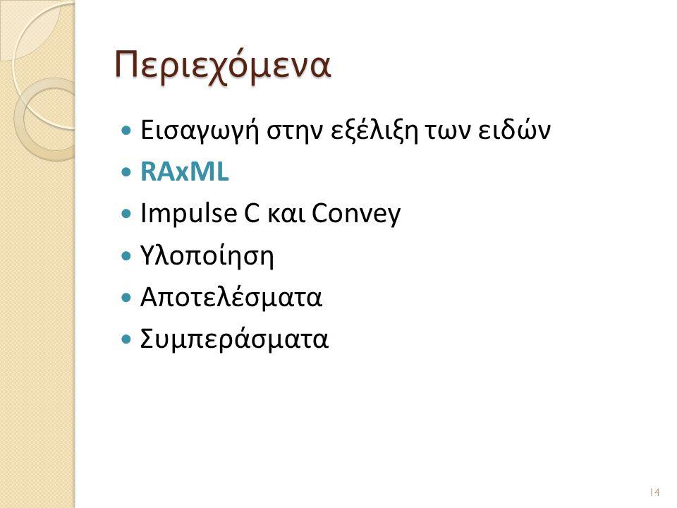 Περιεχόμενα  Εισαγωγή στην εξέλιξη των ειδών  RAxML  Impulse C και Convey  Υλοποίηση  Αποτελέσματα  Συμπεράσματα 14