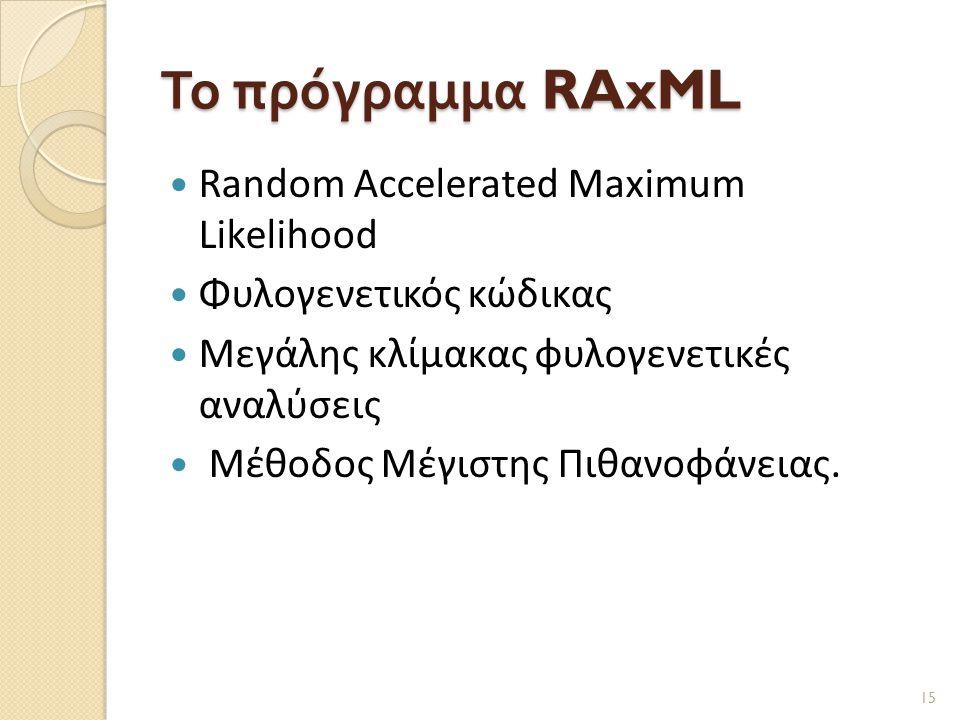 Το πρόγραμμα RAxML  Random Accelerated Maximum Likelihood  Φυλογενετικός κώδικας  Μεγάλης κλίμακας φυλογενετικές αναλύσεις  Μέθοδος Μέγιστης Πιθανοφάνειας.