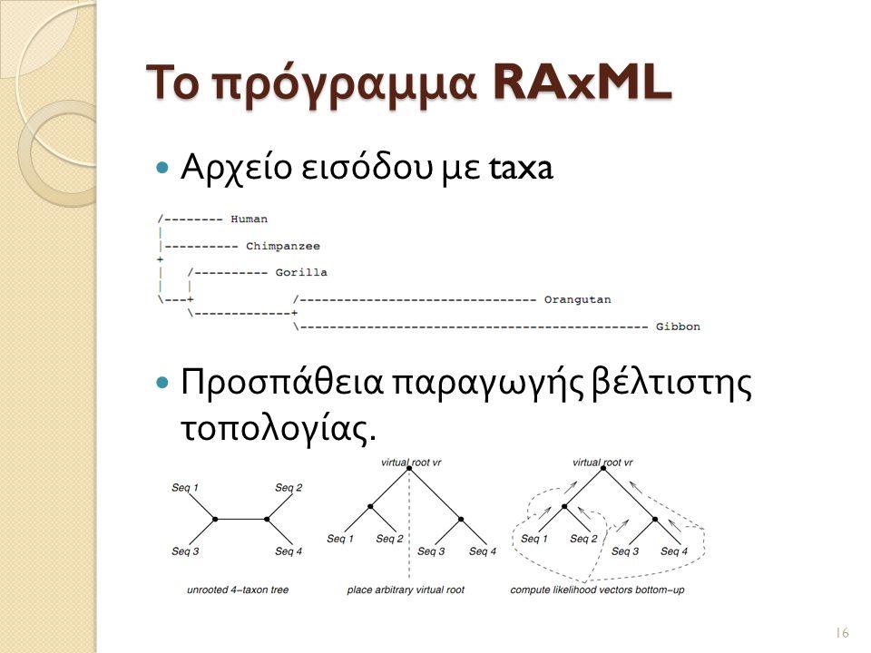 Το πρόγραμμα RAxML  Αρχείο εισόδου με taxa  Προσπάθεια παραγωγής βέλτιστης τοπολογίας. 16