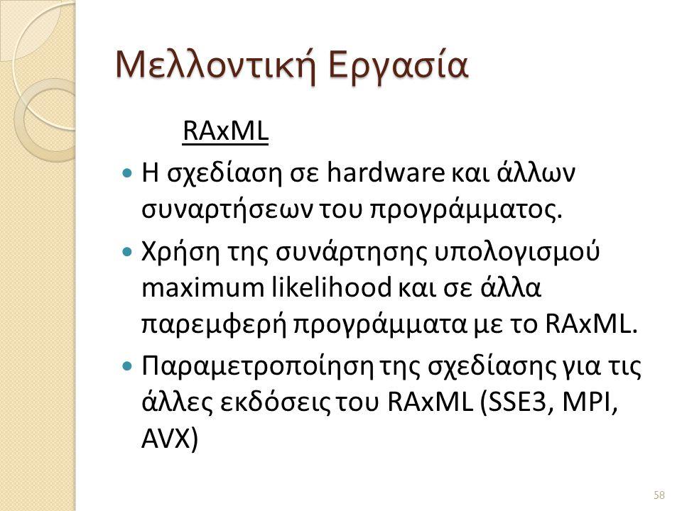 Μελλοντική Εργασία RAxML  H σχεδίαση σε hardware και άλλων συναρτήσεων του προγράμματος.
