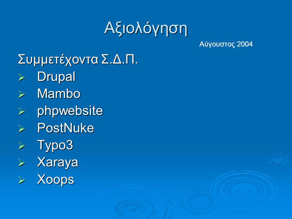 Αξιολόγηση Συμμετέχοντα Σ.Δ.Π.  Drupal  Mambo  phpwebsite  PostNuke  Typo3  Xaraya  Xoops Αύγουστος 2004