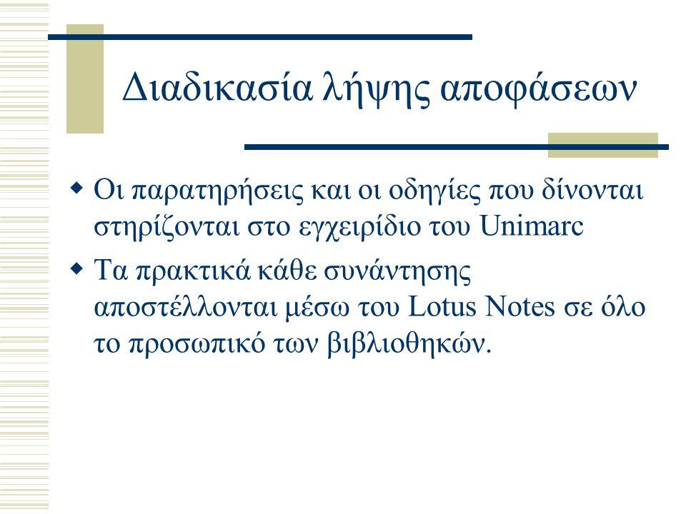 Διαδικασία λήψης αποφάσεων  Οι παρατηρήσεις και οι οδηγίες που δίνονται στηρίζονται στο εγχειρίδιο του Unimarc  Τα πρακτικά κάθε συνάντησης αποστέλλονται μέσω του Lotus Notes σε όλο το προσωπικό των βιβλιοθηκών.