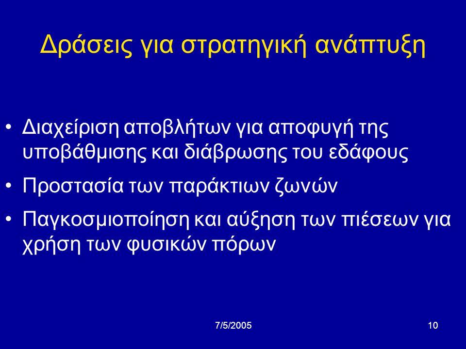 7/5/20059 Δράσεις για στρατηγική ανάπτυξη •Φυσικό περιβάλλον και βιοποικιλότητα •Υγεία και ποιότητα ζωής των πολιτών (ατµοσφαιρική ρύπανση, γενετικώς τροποποιηµένοι οργανισµοί, τροφογενείς νόσοι, κλπ).