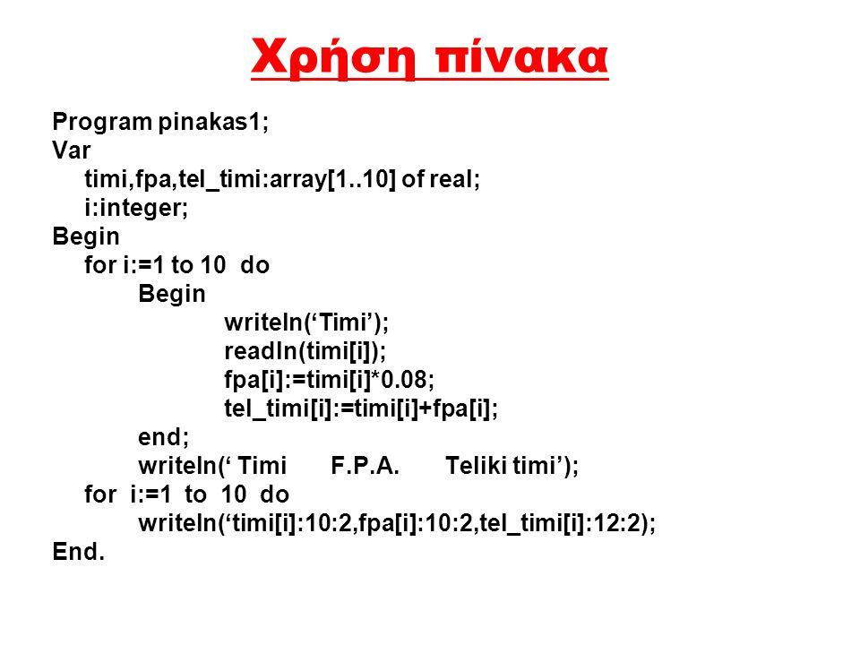 Χρήση πίνακα Program pinakas1; Var timi,fpa,tel_timi:array[1..10] of real; i:integer; Begin for i:=1 to 10 do Begin writeln('Timi'); readln(timi[i]); fpa[i]:=timi[i]*0.08; tel_timi[i]:=timi[i]+fpa[i]; end; writeln(' Timi F.P.A.
