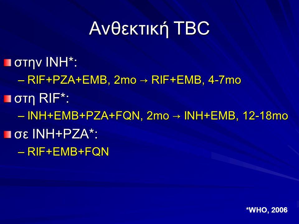Ανθεκτική TBC στην INH*: –RIF+PZA+EMB, 2mo → RIF+EMB, 4-7mo στη RIF*: –INH+EMB+PZA+FQN, 2mo → INH+EMB, 12-18mo σε INH+PZA*: –RIF+EMB+FQN *WHO, 2006
