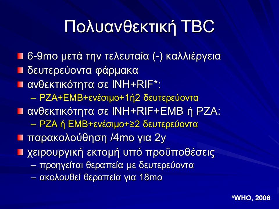 Πολυανθεκτική TBC 6-9mo μετά την τελευταία (-) καλλιέργεια δευτερεύοντα φάρμακα ανθεκτικότητα σε INH+RIF*: –PZA+EMB+ενέσιμο+1ή2 δευτερεύοντα ανθεκτικό