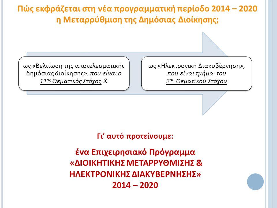 ως «Βελτίωση της αποτελεσματικής δημόσιας διοίκησης», που είναι ο 11 ος Θεματικός Στόχος & ως «Ηλεκτρονική Διακυβέρνηση», που είναι τμήμα του 2 ου Θεμ