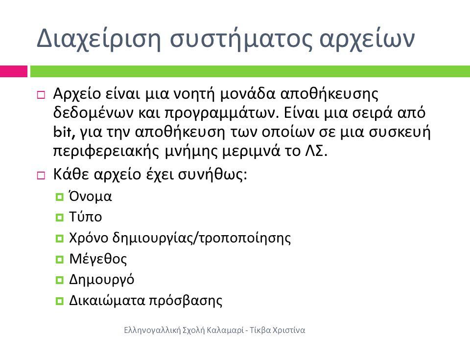 Διαχείριση συστήματος αρχείων Ελληνογαλλική Σχολή Καλαμαρί - Τίκβα Χριστίνα  Αρχείο είναι μια νοητή μονάδα αποθήκευσης δεδομένων και προγραμμάτων.