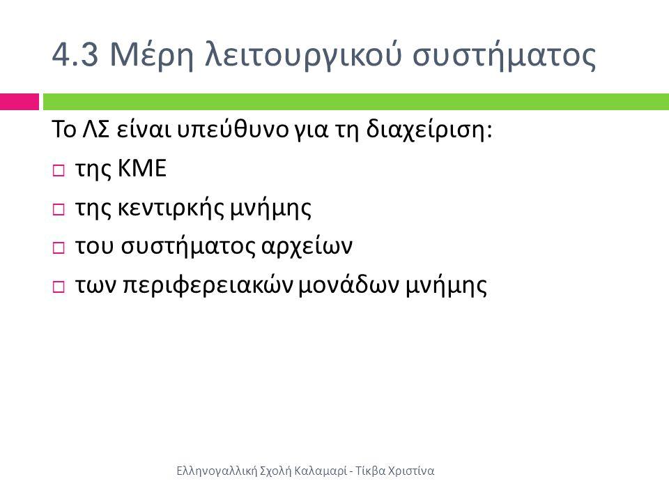4.3 Μέρη λειτουργικού συστήματος Ελληνογαλλική Σχολή Καλαμαρί - Τίκβα Χριστίνα Το ΛΣ είναι υπεύθυνο για τη διαχείριση :  της ΚΜΕ  της κεντιρκής μνήμης  του συστήματος αρχείων  των περιφερειακών μονάδων μνήμης