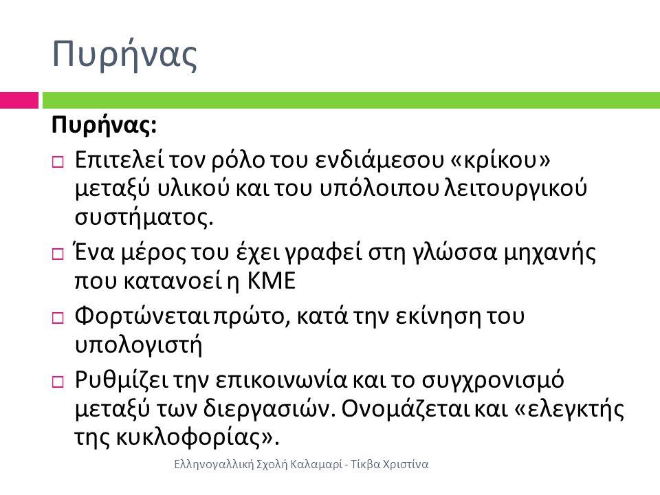 Πυρήνας Ελληνογαλλική Σχολή Καλαμαρί - Τίκβα Χριστίνα Πυρήνας :  Επιτελεί τον ρόλο του ενδιάμεσου « κρίκου » μεταξύ υλικού και του υπόλοιπου λειτουργικού συστήματος.