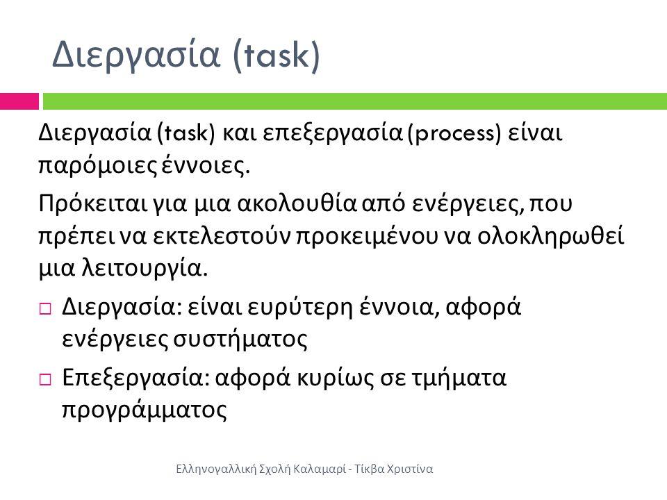 Διεργασία (task) Ελληνογαλλική Σχολή Καλαμαρί - Τίκβα Χριστίνα Διεργασία (task) και επεξεργασία (process) είναι παρόμοιες έννοιες.
