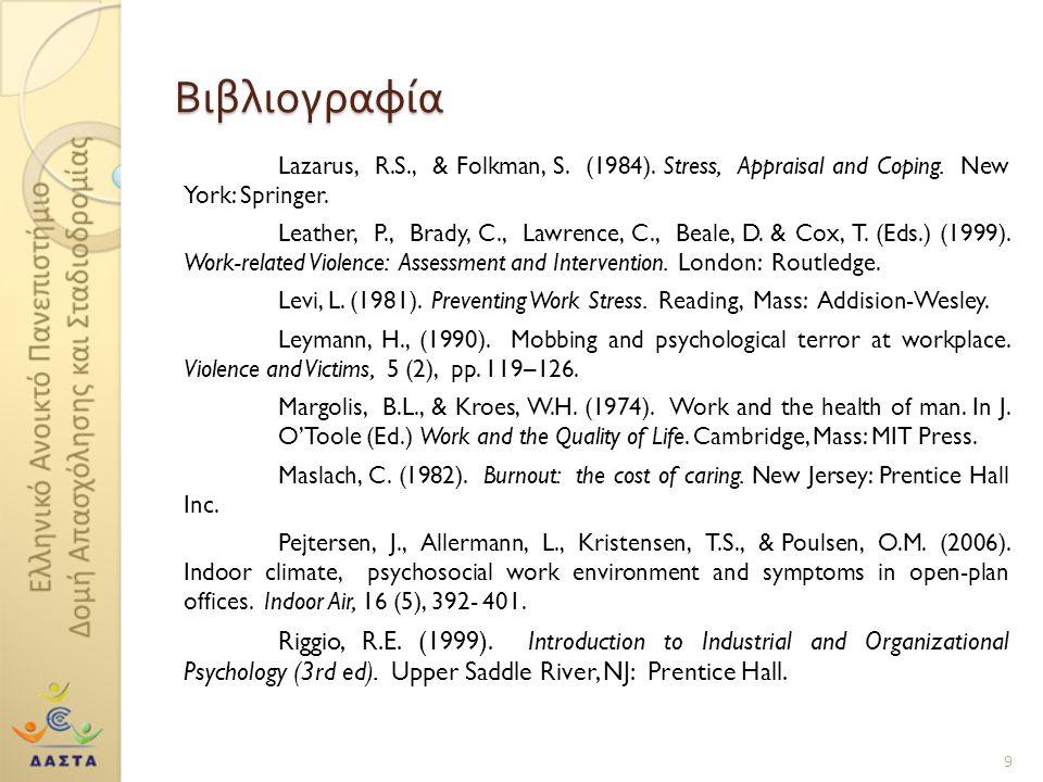 Βιβλιογραφία Lazarus, R.S., & Folkman, S. (1984). Stress, Appraisal and Coping. New York: Springer. Leather, P., Brady, C., Lawrence, C., Beale, D. &