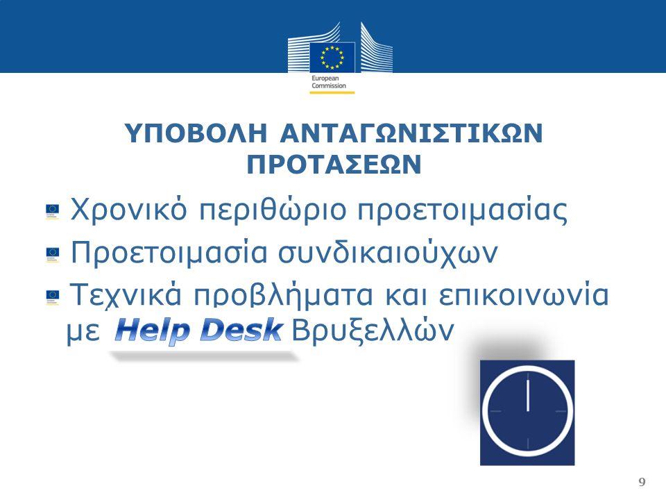 ΥΠΟΒΟΛΗ ΑΝΤΑΓΩΝΙΣΤΙΚΩΝ ΠΡΟΤΑΣΕΩΝ Χρονικό περιθώριο προετοιμασίας Προετοιμασία συνδικαιούχων Τεχνικά προβλήματα και επικοινωνία με Help Desk Βρυξελλών