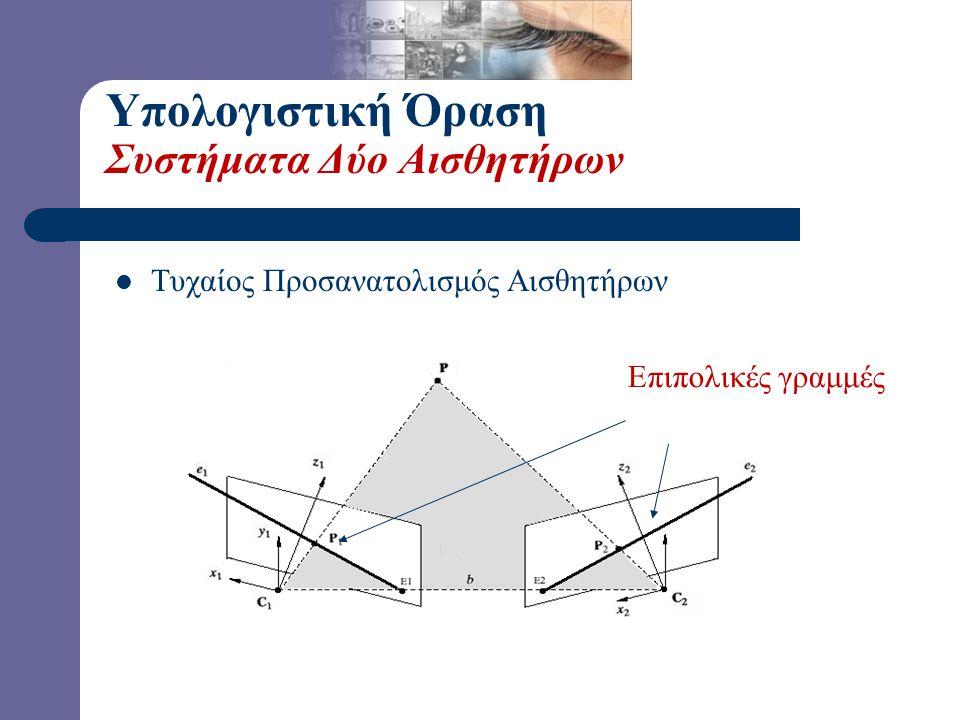 Υπολογιστική Όραση Συστήματα Δύο Αισθητήρων Επιπολικές γραμμές  Τυχαίος Προσανατολισμός Αισθητήρων
