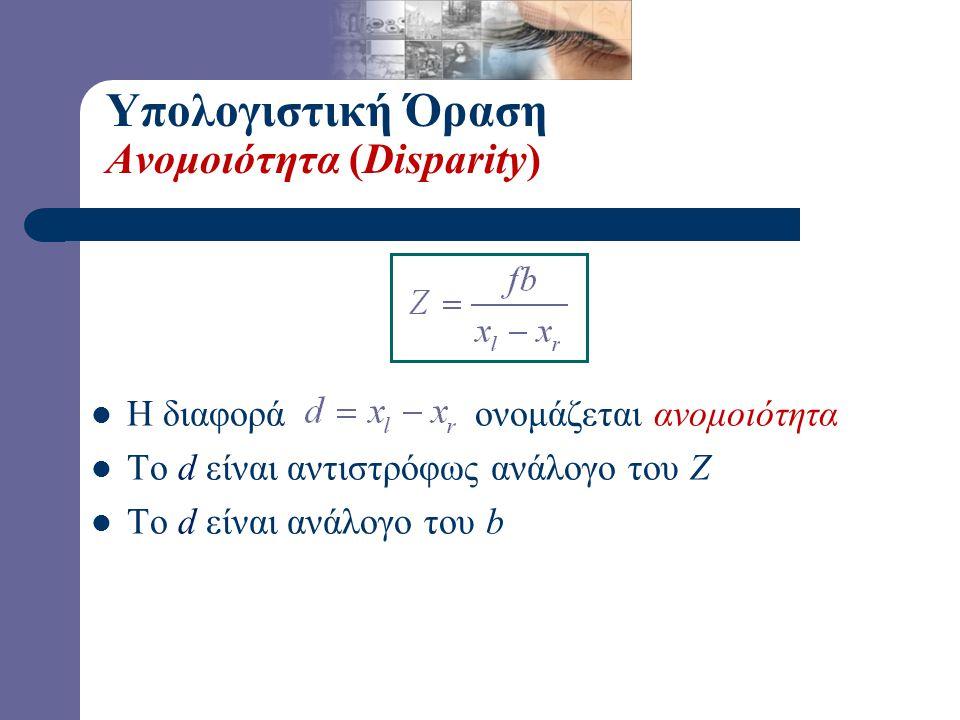 Υπολογιστική Όραση Ανομοιότητα (Disparity)  Η διαφορά ονομάζεται ανομοιότητα  Το d είναι αντιστρόφως ανάλογο του Ζ  Το d είναι ανάλογο του b