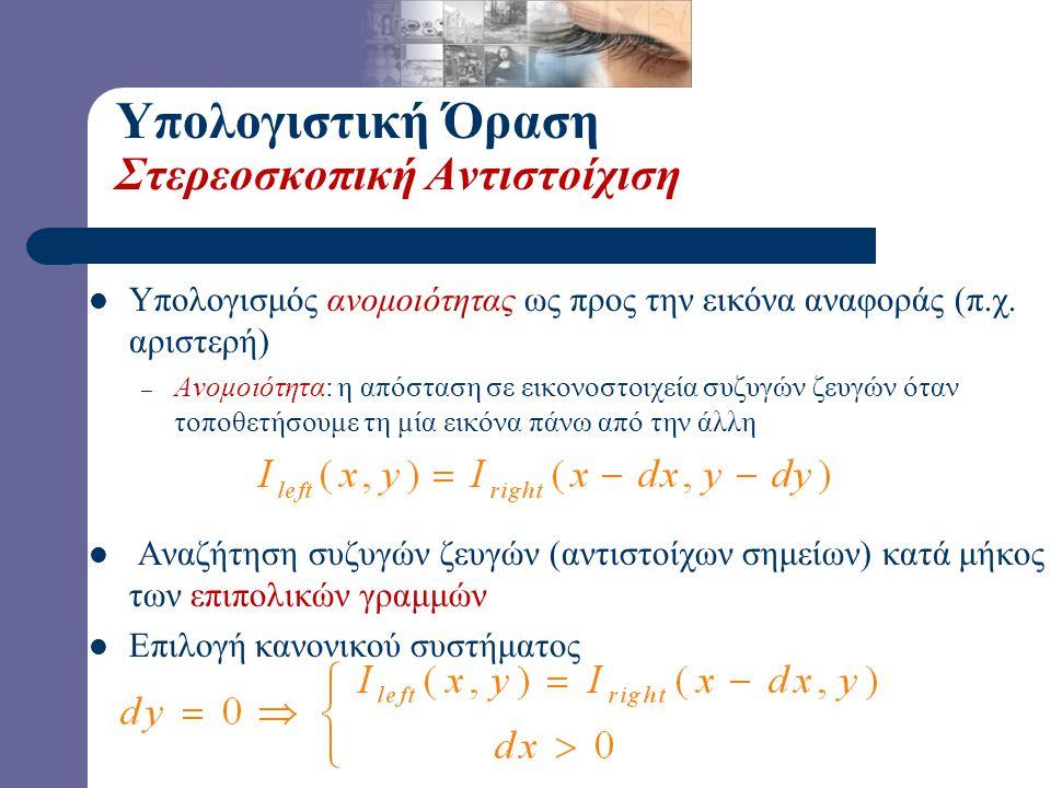 Υπολογιστική Όραση Στερεοσκοπική Αντιστοίχιση  Υπολογισμός ανομοιότητας ως προς την εικόνα αναφοράς (π.χ. αριστερή) – Ανομοιότητα: η απόσταση σε εικο