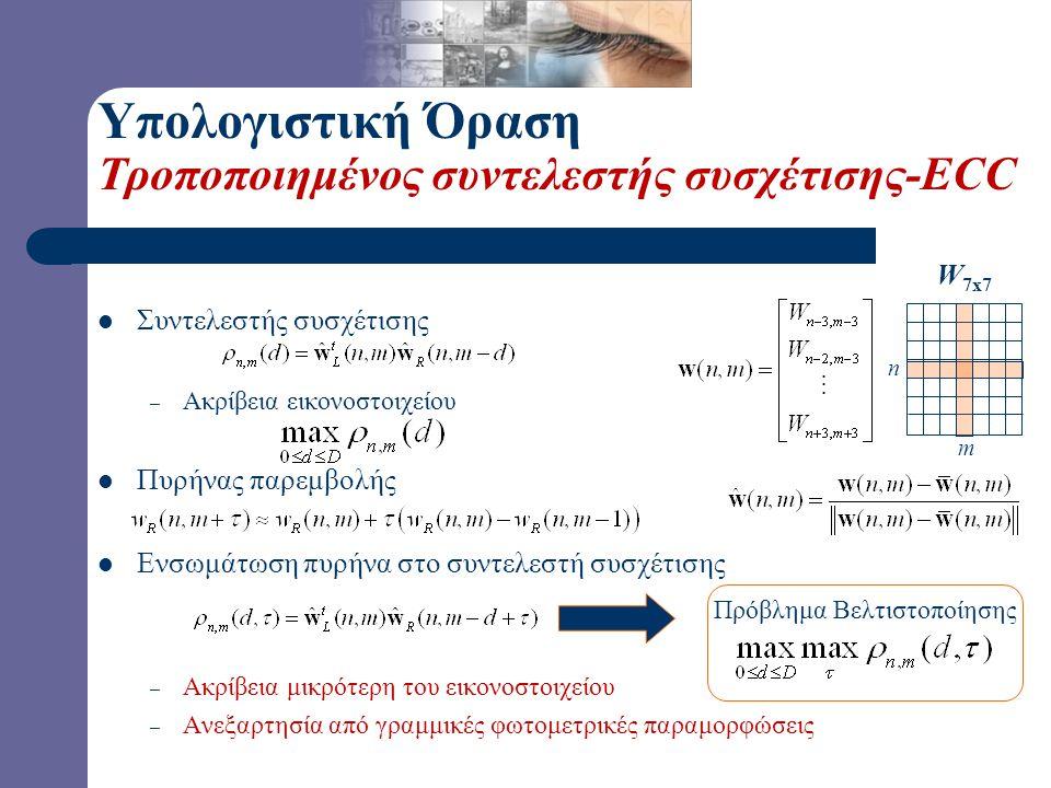 Υπολογιστική Όραση Τροποποιημένος συντελεστής συσχέτισης-ECC  Συντελεστής συσχέτισης – Ακρίβεια εικονοστοιχείου  Πυρήνας παρεμβολής  Ενσωμάτωση πυρ
