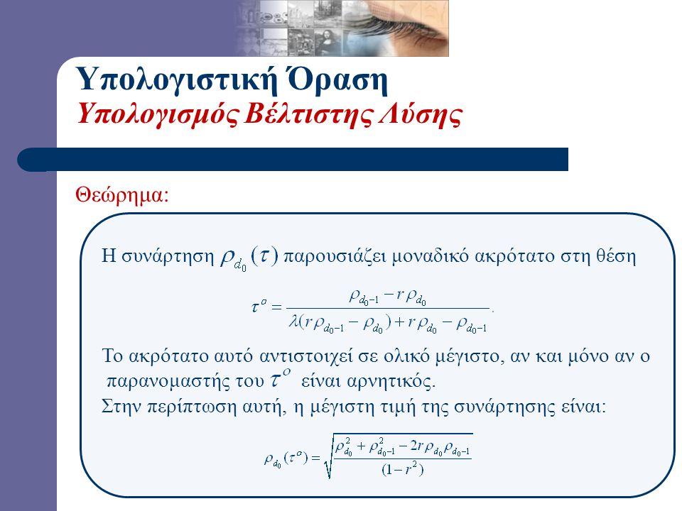 Θεώρημα: Η συνάρτηση παρουσιάζει μοναδικό ακρότατο στη θέση Το ακρότατο αυτό αντιστοιχεί σε ολικό μέγιστο, αν και μόνο αν ο παρανομαστής του είναι αρν