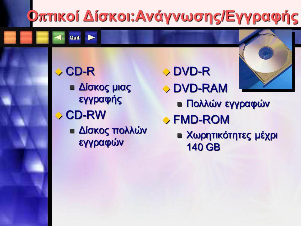 Quit Ο π τικοί Δίσκοι : Ανάγνωσης - Μόνο  CD-ROM  Μνήμη ανάγνωσης μόνο  Δεδομένα δεν αλλάζουν  ταχύτητες: 32X, 40X ή 75X (περιστροφή)  Χωρητικότητα: 650 MB  DVD-ROM  Χωρητικότητα : 4.7 GB έως 17 GB  Συμβατό με CD-ROM