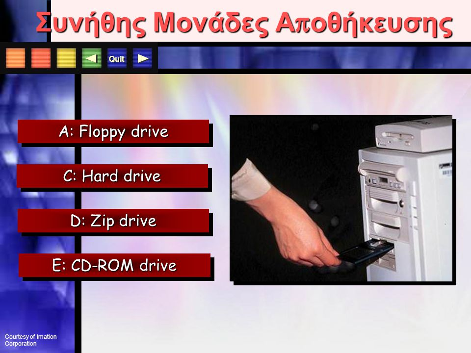 Quit E: CD-ROM drive A: Floppy drive D: Zip drive System Unit Συνήθης Μονάδες Α π οθήκευσης C: Hard drive Courtesy of Imation Corporation
