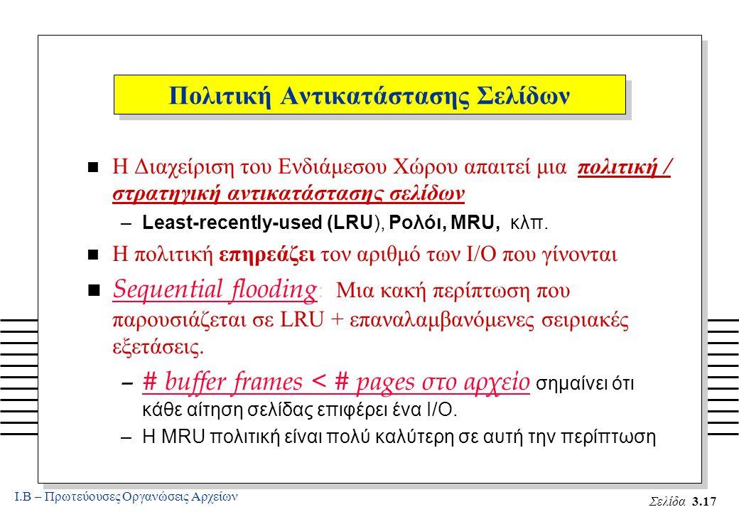 Ι.Β – Πρωτεύουσες Οργανώσεις Αρχείων Σελίδα 3.17  Η Διαχείριση του Ενδιάμεσου Χώρου απαιτεί μια πολιτική / στρατηγική αντικατάστασης σελίδων –Least-recently-used (LRU), Ρολόι, MRU, κλπ.