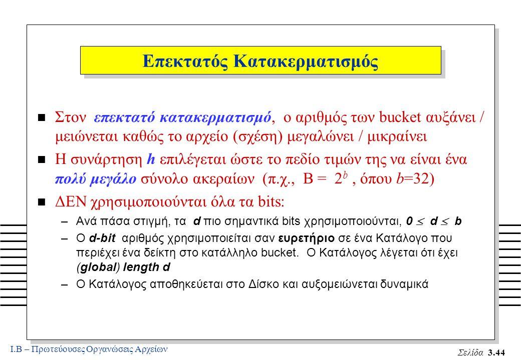 Ι.Β – Πρωτεύουσες Οργανώσεις Αρχείων Σελίδα 3.44 Επεκτατός Κατακερματισμός n Στον επεκτατό κατακερματισμό, ο αριθμός των bucket αυξάνει / μειώνεται καθώς το αρχείο (σχέση) μεγαλώνει / μικραίνει n Η συνάρτηση h επιλέγεται ώστε το πεδίο τιμών της να είναι ένα πολύ μεγάλο σύνολο ακεραίων (π.χ., B = 2 b, όπου b=32) n ΔΕΝ χρησιμοποιούνται όλα τα bits: –Ανά πάσα στιγμή, τα d πιο σημαντικά bits χρησιμοποιούνται, 0  d  b –Ο d-bit αριθμός χρησιμοποιείται σαν ευρετήριο σε ένα Κατάλογο που περιέχει ένα δείκτη στο κατάλληλο bucket.