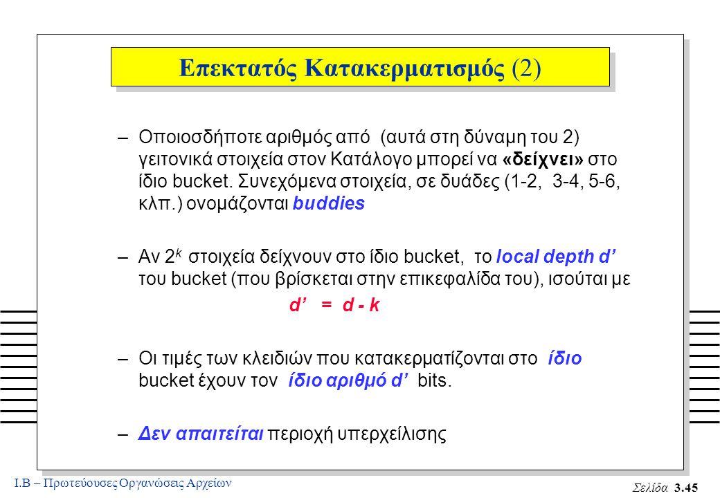Ι.Β – Πρωτεύουσες Οργανώσεις Αρχείων Σελίδα 3.45 Επεκτατός Κατακερματισμός (2) –Οποιοσδήποτε αριθμός από (αυτά στη δύναμη του 2) γειτονικά στοιχεία στον Κατάλογο μπορεί να «δείχνει» στο ίδιο bucket.
