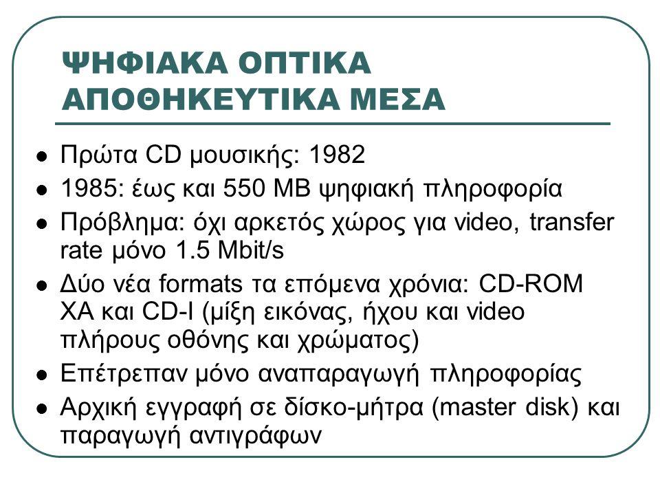 ΨΗΦΙΑΚΑ ΟΠΤΙΚΑ ΑΠΟΘΗΚΕΥΤΙΚΑ ΜΕΣΑ  Πρώτα CD μουσικής: 1982  1985: έως και 550 ΜΒ ψηφιακή πληροφορία  Πρόβλημα: όχι αρκετός χώρος για video, transfer