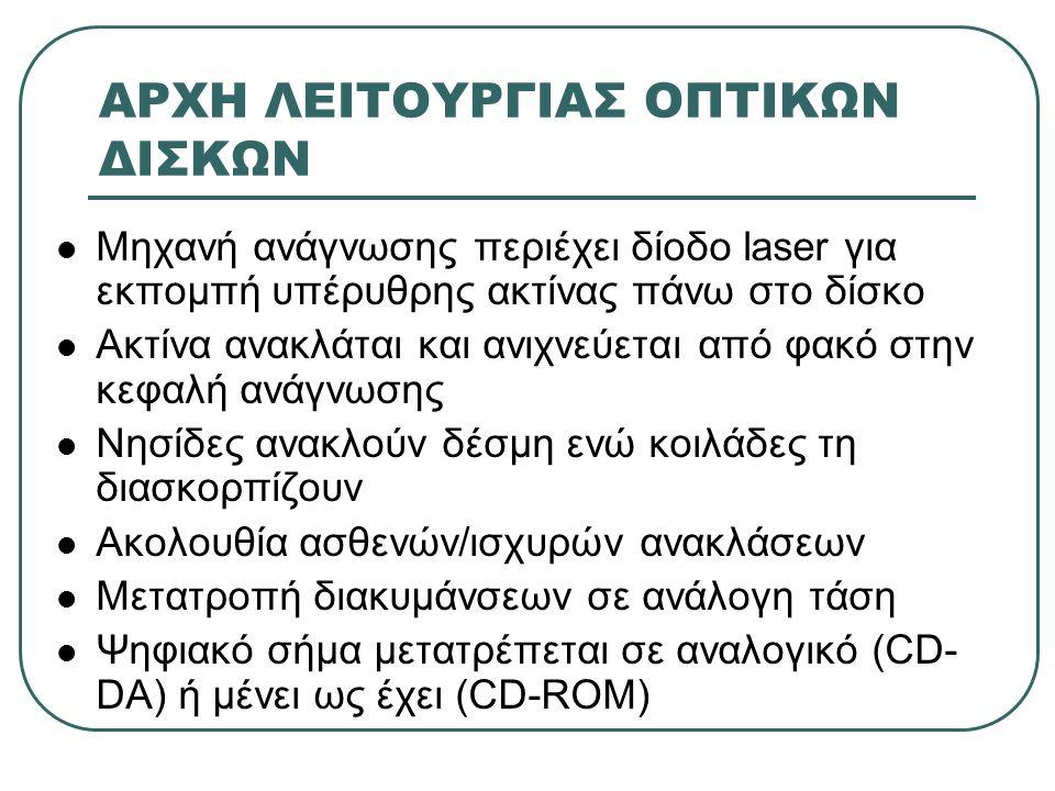  Μηχανή ανάγνωσης περιέχει δίοδο laser για εκπομπή υπέρυθρης ακτίνας πάνω στο δίσκο  Ακτίνα ανακλάται και ανιχνεύεται από φακό στην κεφαλή ανάγνωσης