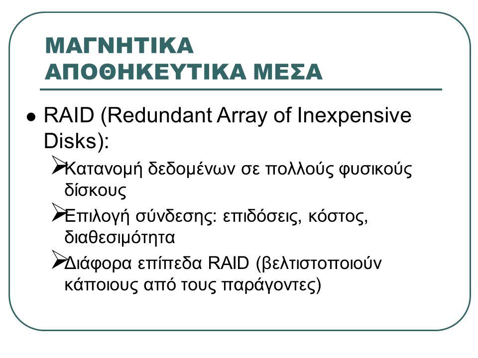 ΜΑΓΝΗΤΙΚΑ ΑΠΟΘΗΚΕΥΤΙΚΑ ΜΕΣΑ  RAID (Redundant Array of Inexpensive Disks):  Κατανομή δεδομένων σε πολλούς φυσικούς δίσκους  Επιλογή σύνδεσης: επιδόσ