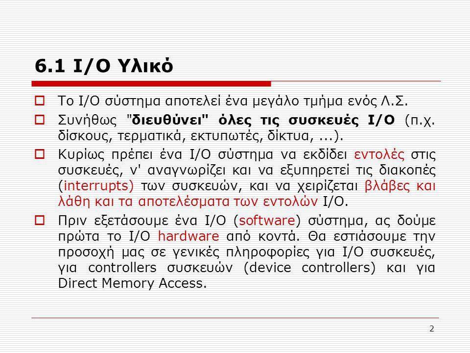 13 6.2 Λογισμικό I/O (Software)  Ίσως η πιο σημαντική έννοια σχετικά με I/O s/w να είναι η ανεξαρτησία από συσκευές (device independence).