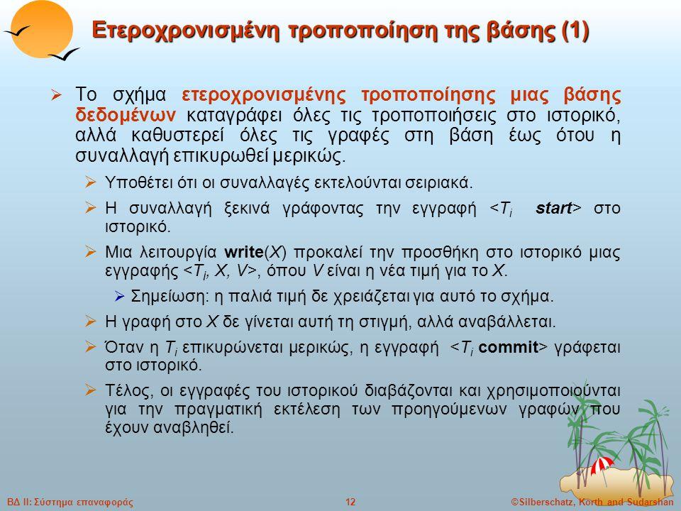 ©Silberschatz, Korth and Sudarshan12ΒΔ ΙΙ: Σύστημα επαναφοράς Ετεροχρονισμένη τροποποίηση της βάσης (1)  Το σχήμα ετεροχρονισμένης τροποποίησης μιας