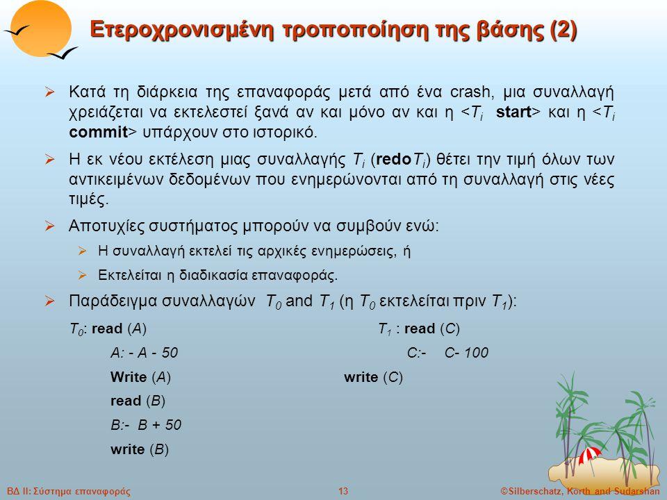 ©Silberschatz, Korth and Sudarshan13ΒΔ ΙΙ: Σύστημα επαναφοράς Ετεροχρονισμένη τροποποίηση της βάσης (2)  Κατά τη διάρκεια της επαναφοράς μετά από ένα