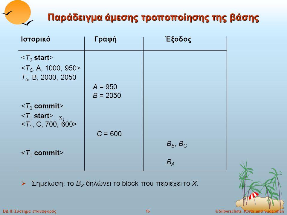 ©Silberschatz, Korth and Sudarshan16ΒΔ ΙΙ: Σύστημα επαναφοράς Παράδειγμα άμεσης τροποποίησης της βάσης Ιστορικό Γραφή Έξοδος T o, B, 2000, 2050 A = 950 B = 2050 C = 600 B B, B C B A  Σημείωση: το B X δηλώνει το block που περιέχει το X.