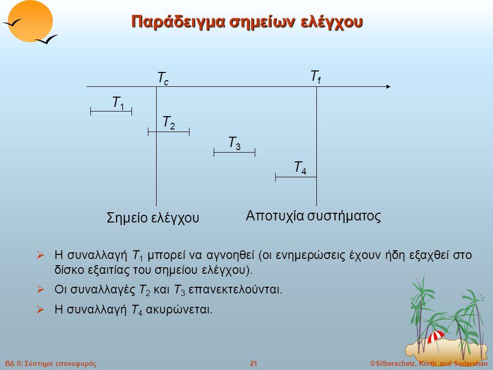 ©Silberschatz, Korth and Sudarshan21ΒΔ ΙΙ: Σύστημα επαναφοράς Παράδειγμα σημείων ελέγχου  Η συναλλαγή T 1 μπορεί να αγνοηθεί (οι ενημερώσεις έχουν ήδη εξαχθεί στο δίσκο εξαιτίας του σημείου ελέγχου).