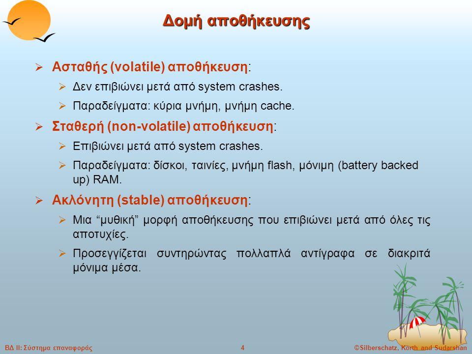 ©Silberschatz, Korth and Sudarshan4ΒΔ ΙΙ: Σύστημα επαναφοράς Δομή αποθήκευσης  Ασταθής (volatile) αποθήκευση:  Δεν επιβιώνει μετά από system crashes.