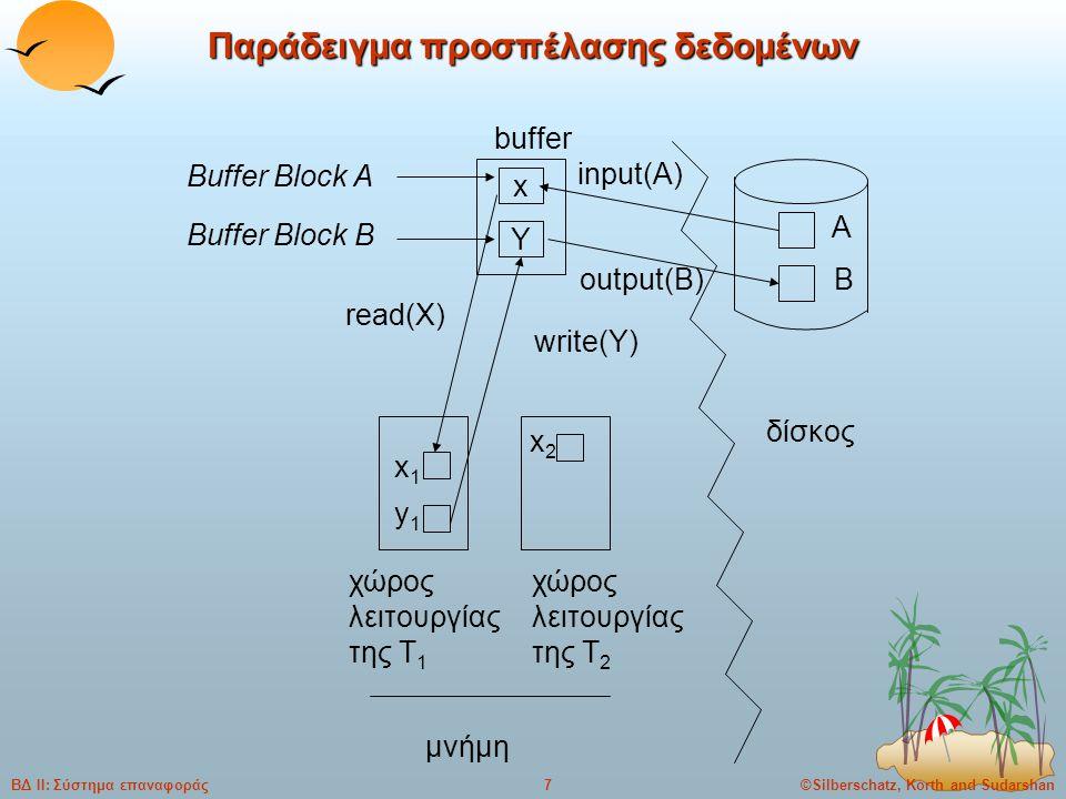 ©Silberschatz, Korth and Sudarshan7ΒΔ ΙΙ: Σύστημα επαναφοράς Παράδειγμα προσπέλασης δεδομένων x Y A B x1x1 y1y1 buffer Buffer Block A Buffer Block B input(A) output(B) read(X) write(Y) δίσκος χώρος λειτουργίας της T 1 χώρος λειτουργίας της T 2 μνήμη x2x2