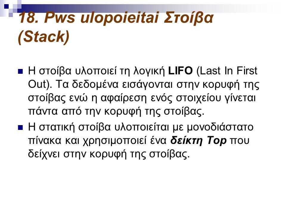 18.Pws ulopoieitai Στοίβα (Stack)  Η στοίβα υλοποιεί τη λογική LIFO (Last In First Out).