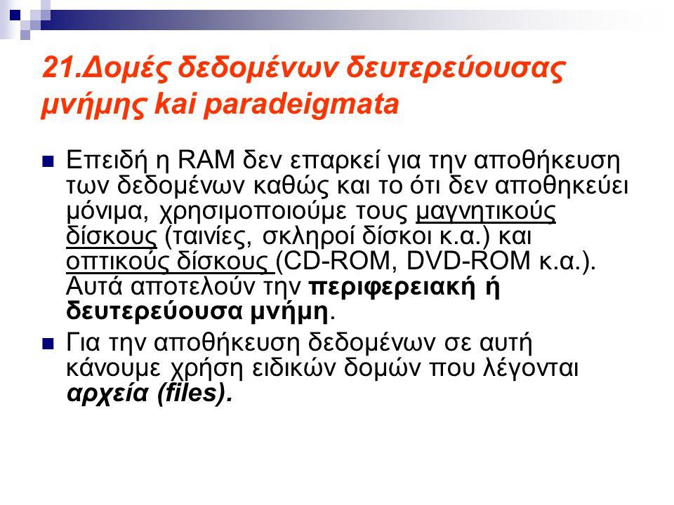 21.Δομές δεδομένων δευτερεύουσας μνήμης kai paradeigmata  Επειδή η RAM δεν επαρκεί για την αποθήκευση των δεδομένων καθώς και το ότι δεν αποθηκεύει μόνιμα, χρησιμοποιούμε τους μαγνητικούς δίσκους (ταινίες, σκληροί δίσκοι κ.α.) και οπτικούς δίσκους (CD-ROM, DVD-ROM κ.α.).