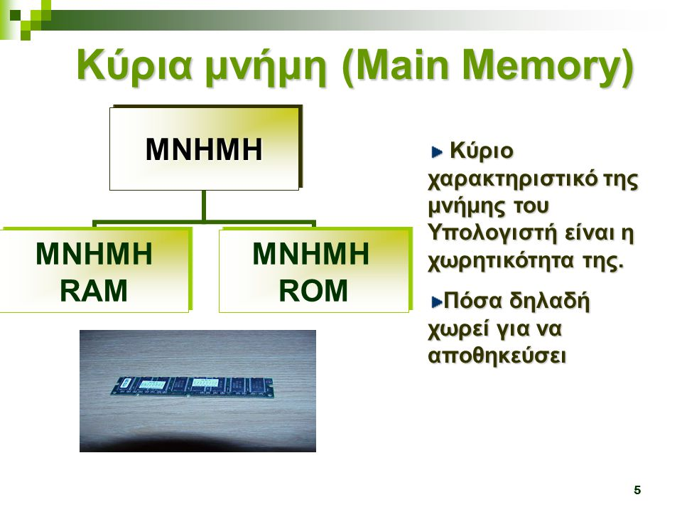 5 Κύρια μνήμη (Main Memory) Κύριο χαρακτηριστικό της μνήμης του Υπολογιστή είναι η χωρητικότητα της.