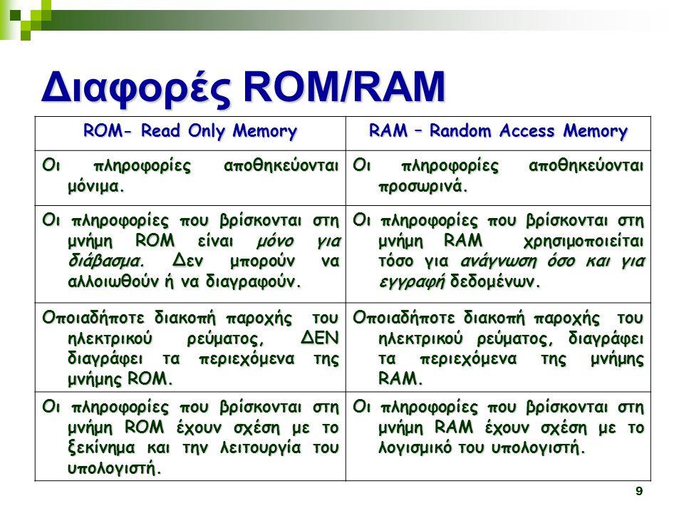 9 Διαφορές ROM/RAM ROM- Read Only Memory RAM – Random Access Memory Οι πληροφορίες αποθηκεύονται μόνιμα.