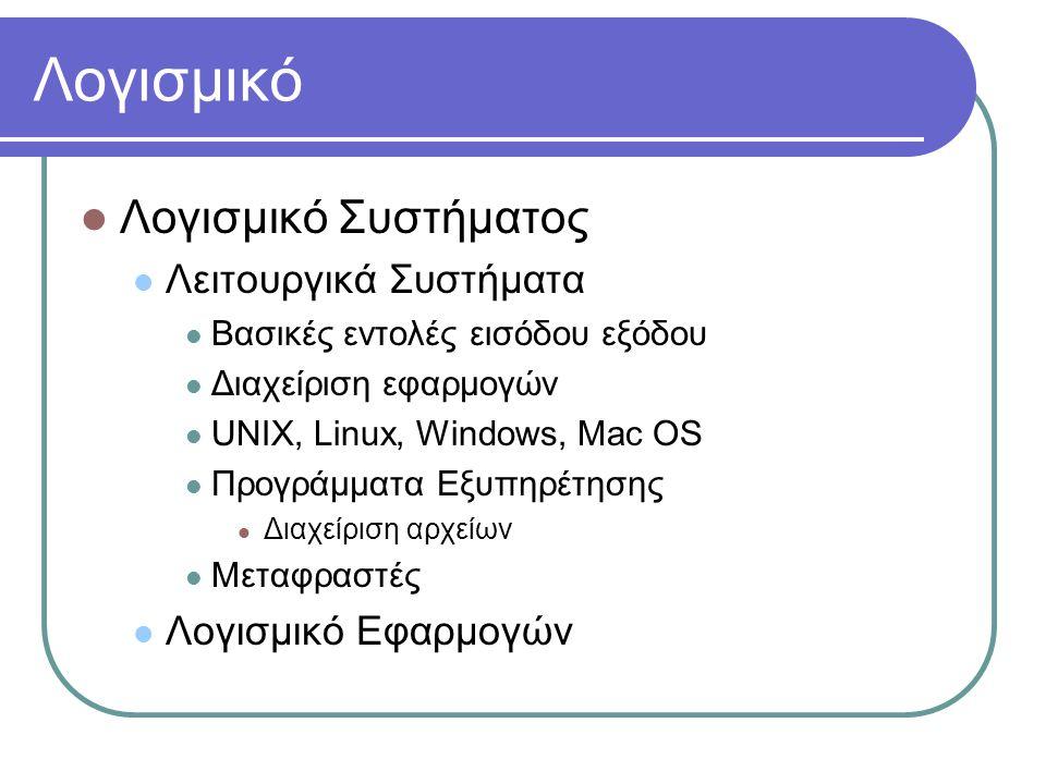 Λογισμικό  Λογισμικό Συστήματος  Λειτουργικά Συστήματα  Βασικές εντολές εισόδου εξόδου  Διαχείριση εφαρμογών  UNIX, Linux, Windows, Mac OS  Προγράμματα Εξυπηρέτησης  Διαχείριση αρχείων  Μεταφραστές  Λογισμικό Εφαρμογών