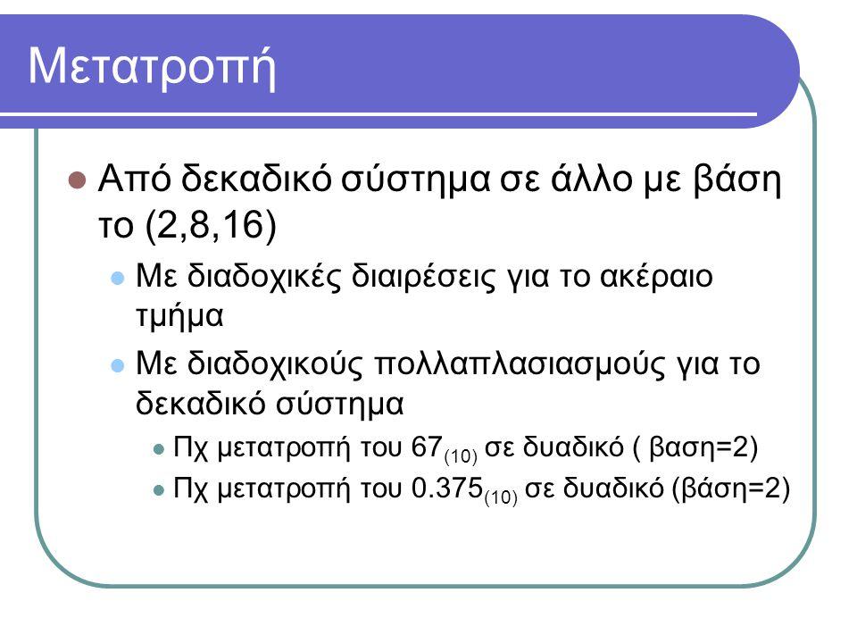Μετατροπή  Από δεκαδικό σύστημα σε άλλο με βάση το (2,8,16)  Με διαδοχικές διαιρέσεις για το ακέραιο τμήμα  Με διαδοχικούς πολλαπλασιασμούς για το δεκαδικό σύστημα  Πχ μετατροπή του 67 (10) σε δυαδικό ( βαση=2)  Πχ μετατροπή του 0.375 (10) σε δυαδικό (βάση=2)