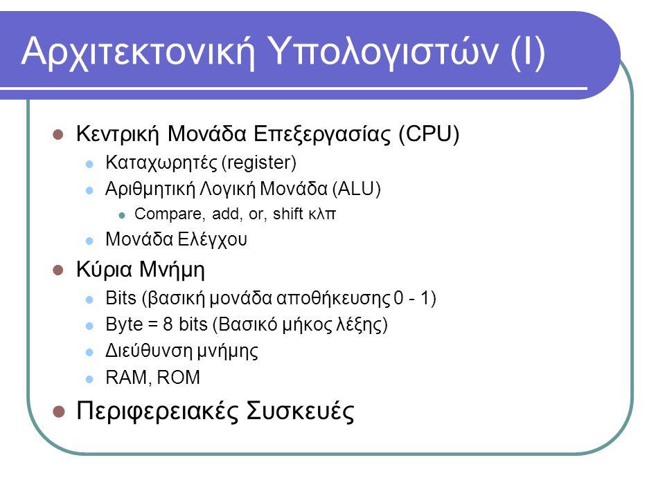 Αρχιτεκτονική Υπολογιστών (Ι)  Κεντρική Μονάδα Επεξεργασίας (CPU)  Καταχωρητές (register)  Αριθμητική Λογική Μονάδα (ALU)  Compare, add, or, shift κλπ  Μονάδα Ελέγχου  Κύρια Μνήμη  Bits (βασική μονάδα αποθήκευσης 0 - 1)  Byte = 8 bits (Βασικό μήκος λέξης)  Διεύθυνση μνήμης  RAM, ROM  Περιφερειακές Συσκευές